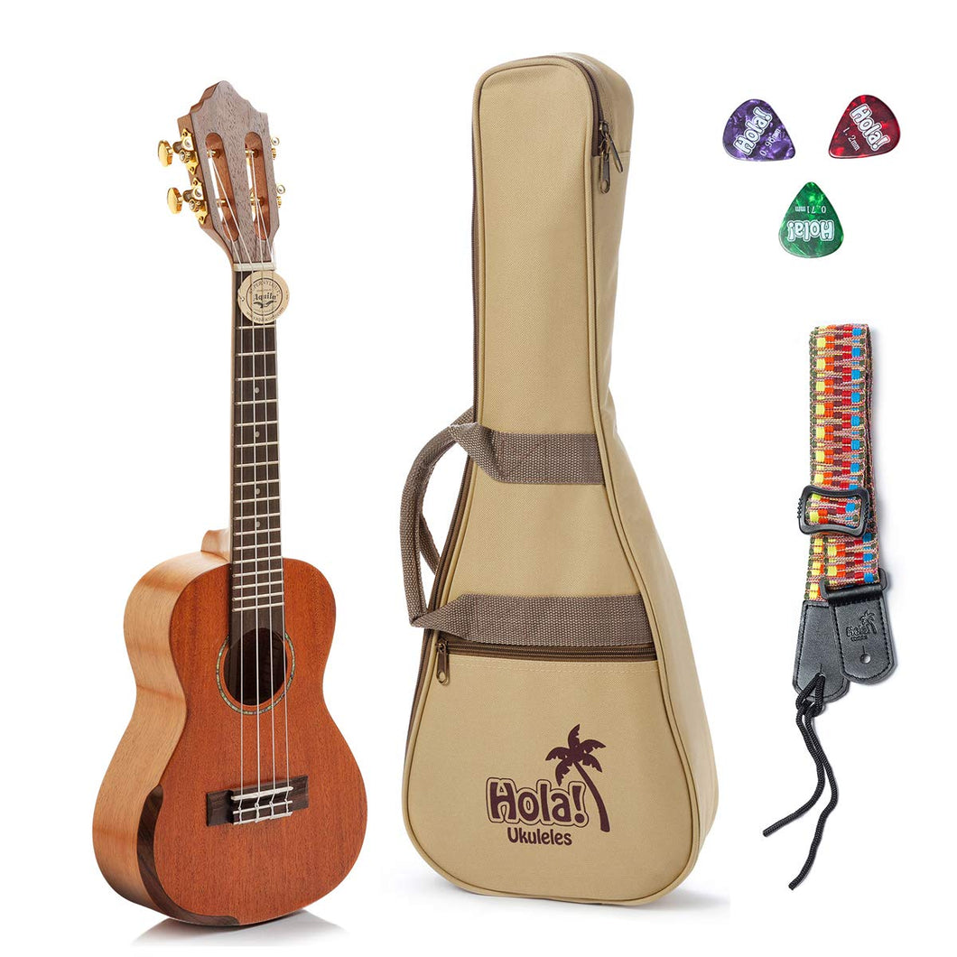 Tenor Ukulele Professional Series (Model HM-427SMM+), Bundle Includes: 27 Inch SOLID Mahogany Top Ukulele with Aquila Nylgut Strings Installed, Padded Gig Bag, Strap and Picks