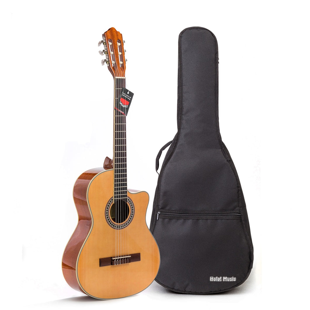 Cutaway Classical Guitar with Savarez Nylon Strings, Full Size 39 Inch Model HG-39C, Natural Gloss Finish - FREE Padded Gig Bag Included