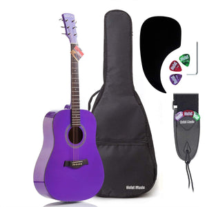 "Acoustic Dreadnought Guitar Bundle with D'Addario Steel Strings, Padded Bag, Guitar Strap & Picks, Full Size 41"" (Model HG-41PP), Glossy Purple"