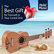 Load image into Gallery viewer, HM-121GL+ Laser Engraved Mahogany Soprano Ukulele Bundle with Aquila Strings, Padded Gig Bag, Strap and Picks - Hula Dancer