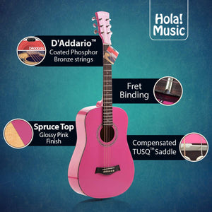"3/4 Size 36"" Acoustic Guitar Bundle Junior/Travel Size with D'Addario EXP16 Steel Strings, Padded Bag, Guitar Strap & Picks - HG-36PK Glossy Pink"