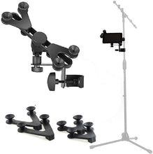 Load image into Gallery viewer, HM-MTH Microphone Music Stand Tablet / Smartphone Holder Mount - Fits Devices from 6 to 15 Inch