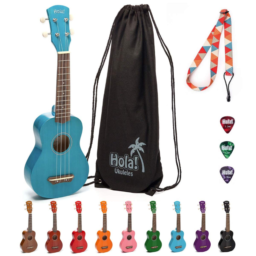 HM-21BU Soprano Ukulele Bundle with Canvas Tote Bag, Strap and Picks, Color Series - Blue