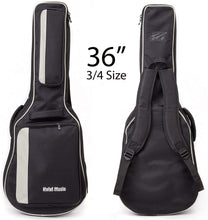 Load image into Gallery viewer, Acoustic and Classical Guitars Gig Bag 3/4 Size (36 inch), Deluxe Series with 15mm Padding, Black