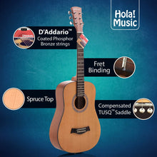 "Load image into Gallery viewer, 3/4 Size 36"" Acoustic Guitar Bundle Junior/Travel Size, D'Addario EXP16 Steel Strings, Padded Bag, Guitar Strap & Picks, HG-36N Natural Satin Finish"