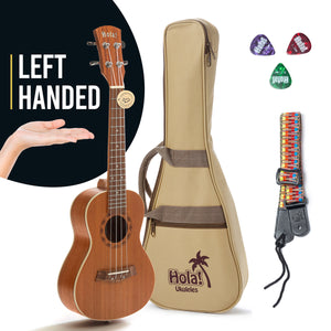 "LEFT HANDED Concert Ukulele Bundle (Model HM-124LFT+) Includes: 24"" Mahogany Ukulele with Aquila Nylgut Strings Installed, Padded Bag, Strap & Picks"