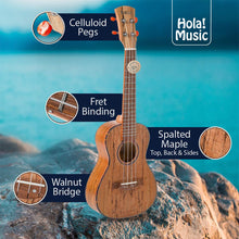 Load image into Gallery viewer, Tenor Ukulele Deluxe Series by Hola! Music (Model HM-127SM+), Bundle Includes: 27 Inch Spalted Maple Ukulele with Aquila Nylgut Strings Installed, Padded Gig Bag, Strap and Picks - Limited Edition