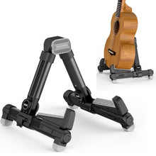 Load image into Gallery viewer, Portable Folding Ukulele Stand by Hola! Music - Black Aluminum