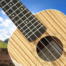 Load image into Gallery viewer, Zebrawood  Concert Ukulele (Model HM-124ZW+), Bundle Includes: 24 Inch Ukulele with Aquila Nylgut Strings Installed, Padded Gig Bag, Strap and Picks