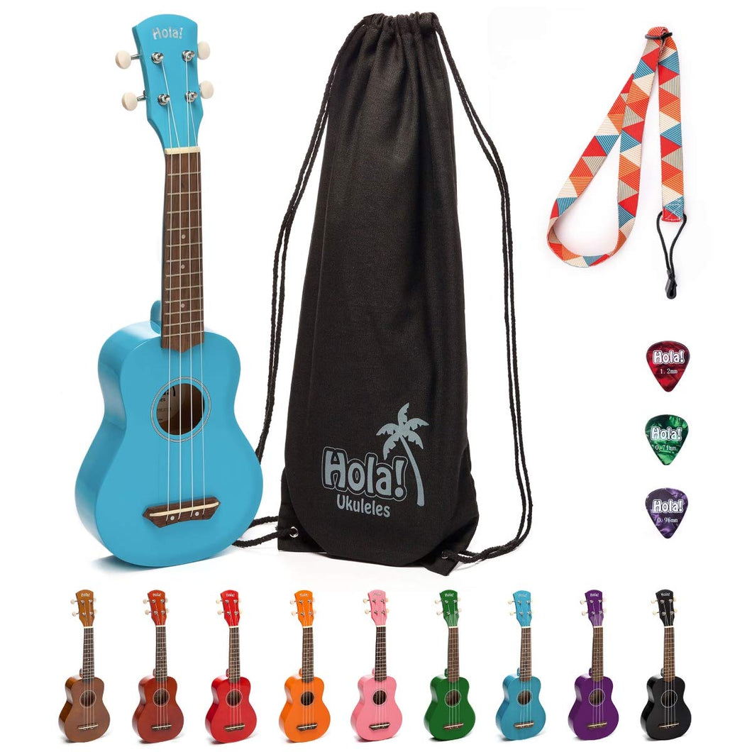 HM-21LB Soprano Ukulele Bundle with Canvas Tote Bag, Strap and Picks, Color Series - Light Blue
