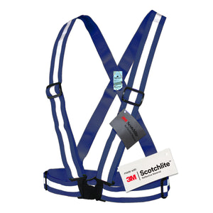 Salzmann 3M Reflective Vest, High Visibility Cross Belt with Adjustable Straps, Made with 3M Scotchlite, Navy