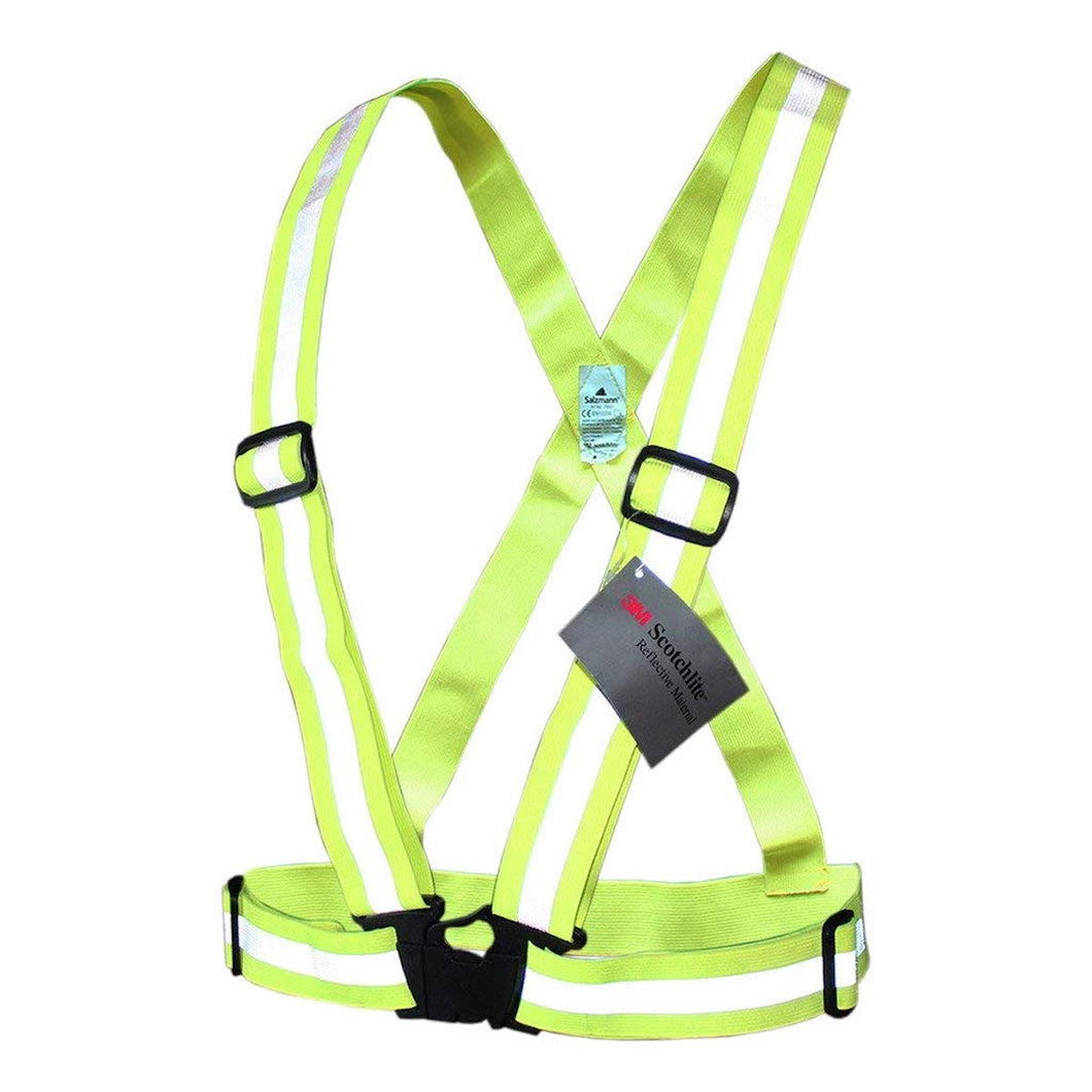 Salzmann 3M Reflective Vest, High Visibility Cross Belt with Adjustable Straps, Made with 3M Scotchlite, Yellow