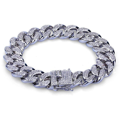 Image of 18K Gold Diamond Plated Cuban Bracelet