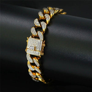 18K Gold Diamond Plated Cuban Bracelet
