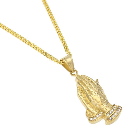 18K Gold Iced Praying Hand Pendant