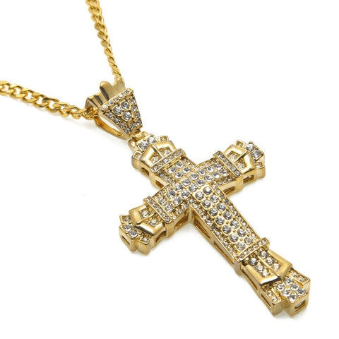 Image of 18K Gold Big Cross Iced Cuban Pendant