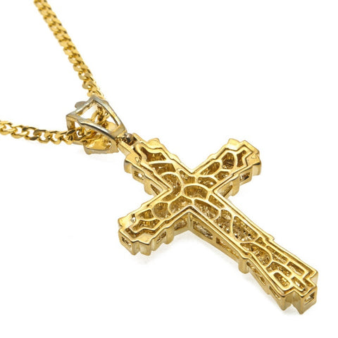 18K Gold Big Cross Iced Cuban Pendant