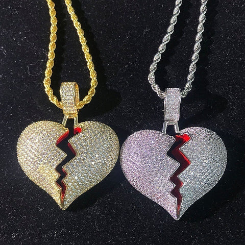 14K Gold Broken Heart Pendant