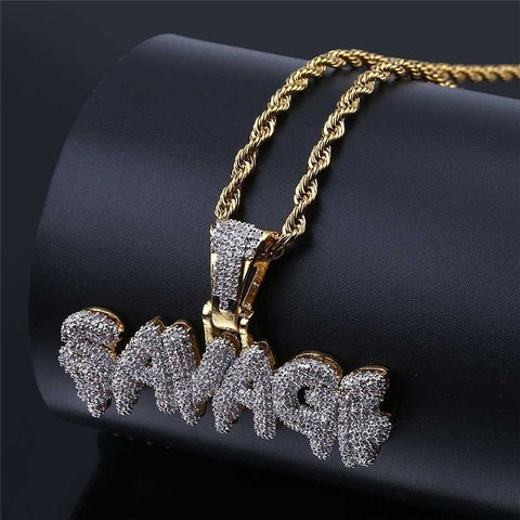 18K Gold Savage Cubic Pendant