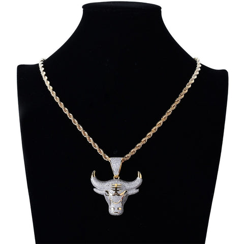 18K Gold Bull Pendant With Iced Horns