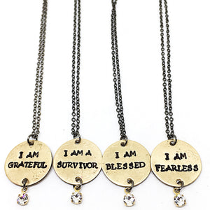 "Buffalo Girls Salvage - ""I Am Grateful"" Necklace"