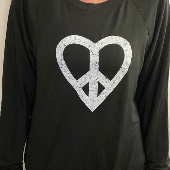 Udderly Perfect- Black Peace Heart Long Sleeve