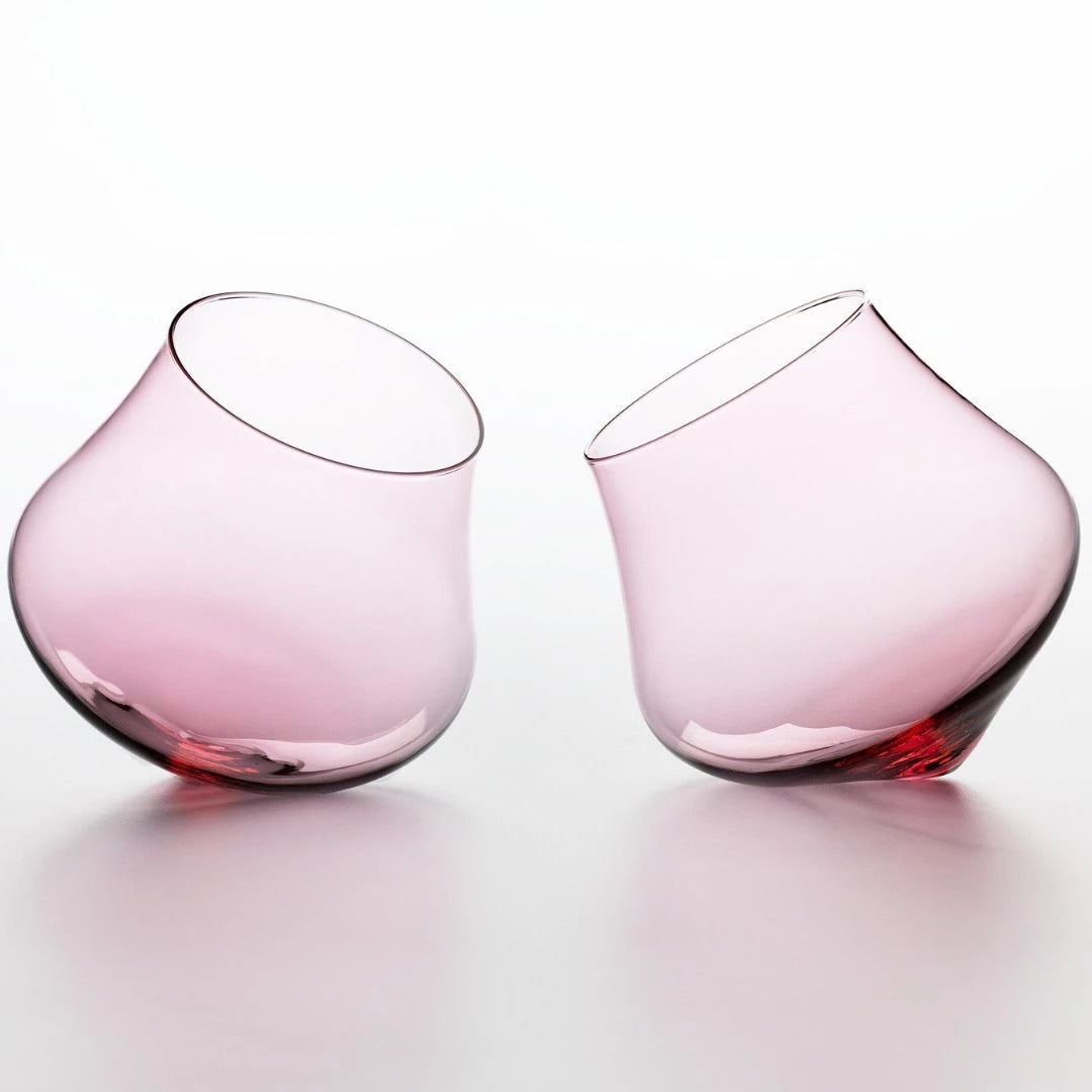 Rose Pink Kinetic Wine Glass Set | Set Of Two Wine Glasses | Handmade Decanter - CoCo Contemporary Connoisseur Gift Store