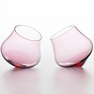Rose Pink Kinetic Wine Glass Set Of Two | - CoCo Contemporary Connoisseur Gift Store