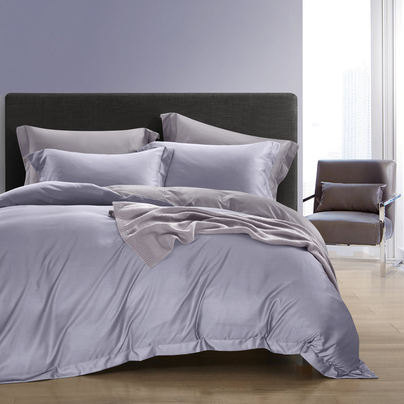 Epitex Nutex Bamboo Solid Dobby BA5807-Misty Lilac | Gull Grey 1200TC Fitted Sheet Set - Epitex