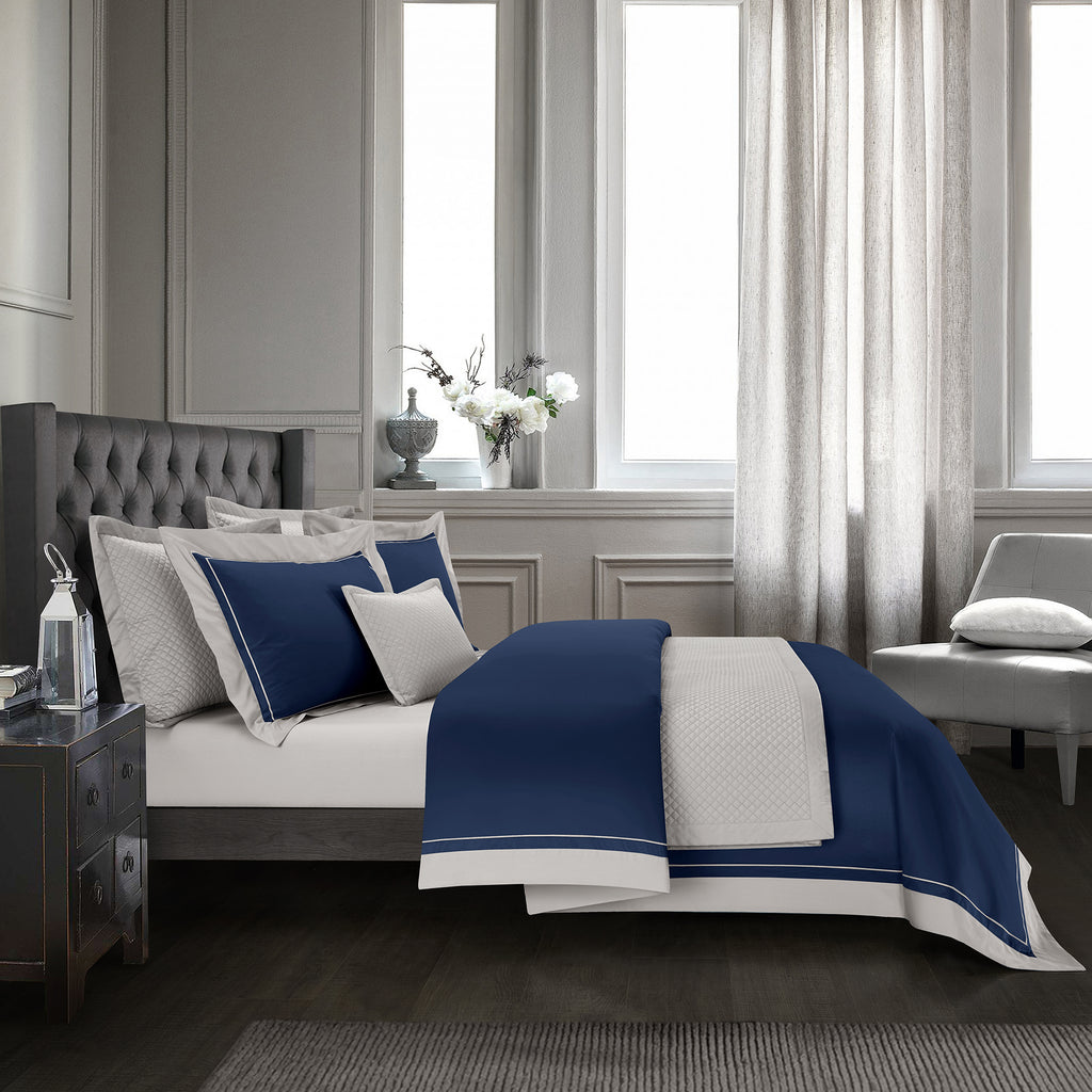 Epitex Hotel Collection HC2301-5 1200TC Midnight Blue / Silver Bedset - Epitex