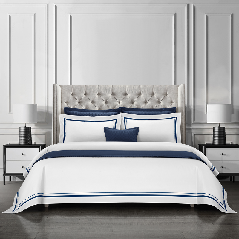 Epitex Hotel Collection HC2301-9 1200TC White / Midnight Blue Bedset - Epitex