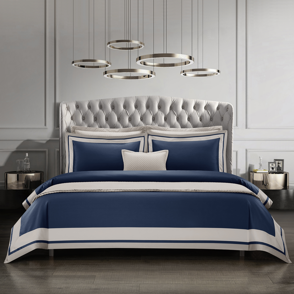 Cressent Dale Signature Collection CR2302-03 1600TC Midnight Blue / Grey Supremely Egyptian Cotton - Epitex