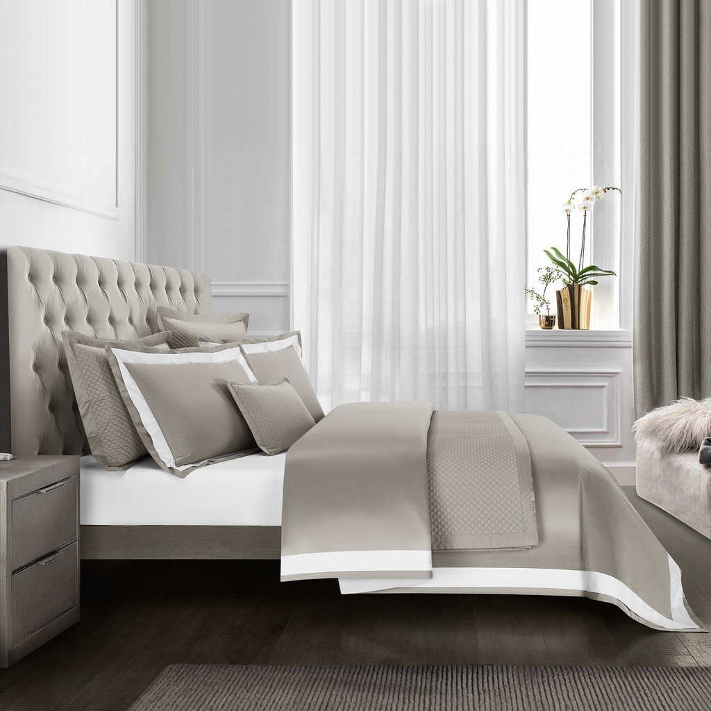 Cressent Dale Signature Collection CR2302-06 1600TC Taupe Grey / White Supremely Egyptian Cotton - Epitex