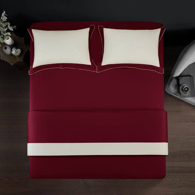 Epitex Hotel Collection HC2301-1 1200TC Red / Ivory Bedset - Epitex