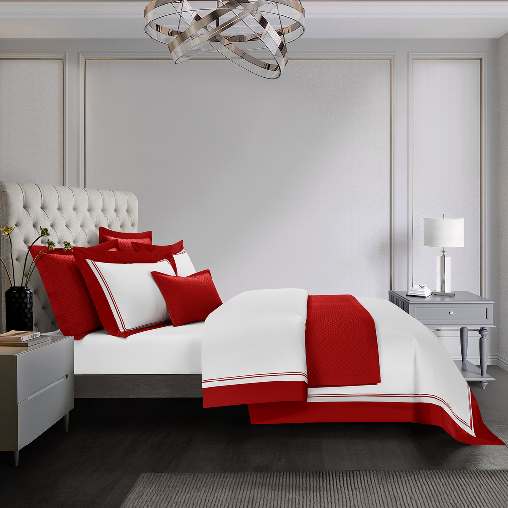 Cressent Dale Signature Collection CR2302-08 1600TC White / Red Supremely Egyptian Cotton - Epitex