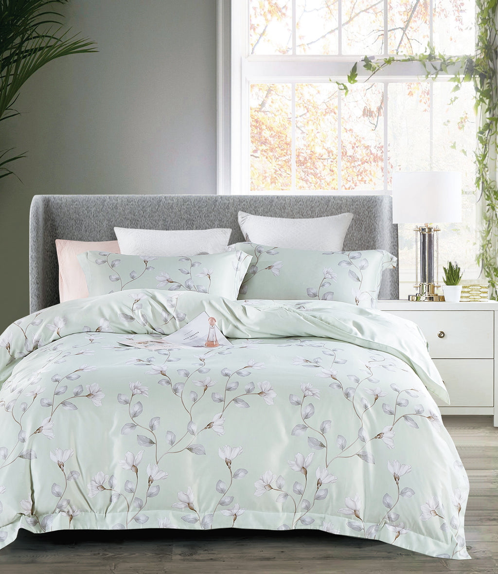Epitex 1000TC HS1208-03 Hybrid Botanic Silk Printed Fitted Sheet Set & Bedset - Epitex