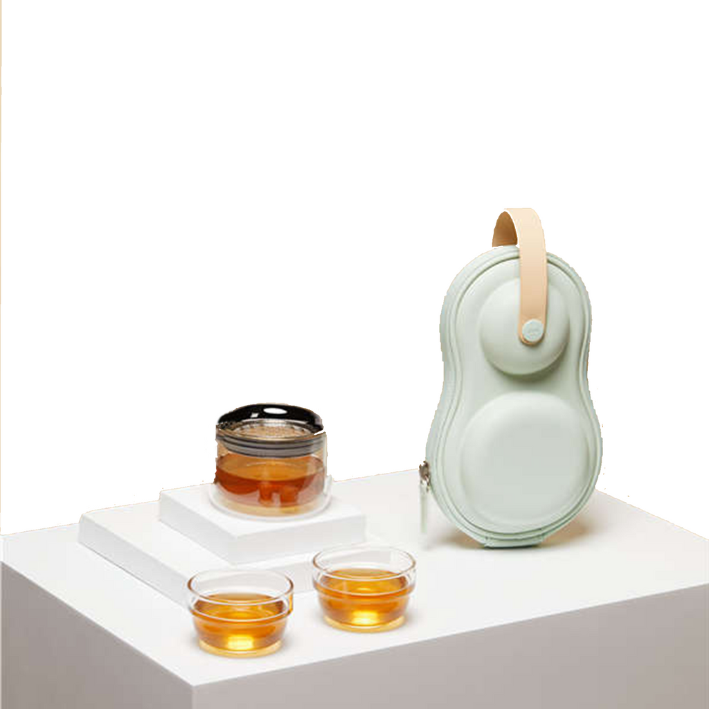 Epitex Bright Moon Mini Twin Glass Travel Tea Set - Epitex