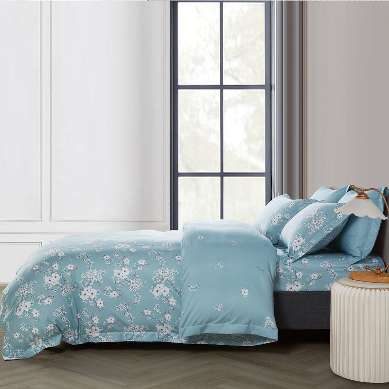 Epitex 1000TC HS1211-02 Hybrid Botanic Silk Printed Fitted Sheet Set / Bedset - Epitex