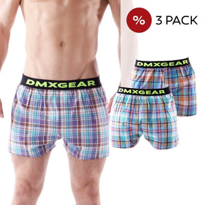 3 PACK DMXGEAR LUXURY MEN'S LOOSE TRUNKS TARTAN SHADES OF BLUE