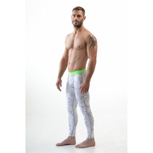 DMXGEAR ELASTIC PANTS MEN'S PATTERNED COMPRESSION PRO COMBAT TIGHTS GREEN WHITE