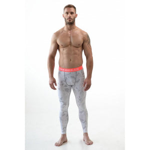 DMXGEAR ELASTIC PANTS MEN'S PATTERNED COMPRESSION PRO COMBAT TIGHTS PINK WHITE