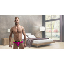 Load image into Gallery viewer, DMXGEAR LUXURY COTTON PINK MEN'S BRIEF ANATOMICALLY FIT BRIEF WITH NEON YELLOW WAISTBAND