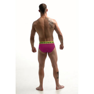 DMXGEAR LUXURY COTTON PINK MEN'S BRIEF ANATOMICALLY FIT BRIEF WITH NEON YELLOW WAISTBAND