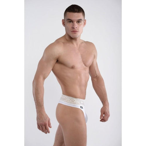 DMXGEAR LUXURY WHITE MEN'S THONG WITH LACE BELT LACE