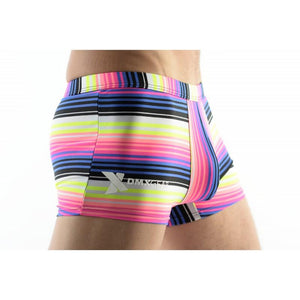 DMXGEAR MEN'S SWIM BOXER SHORTS WITH MULTICOLOR STRIPES SUN & FUN