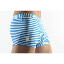 Load image into Gallery viewer, DMXGEAR MEN'S SWIM BOXER SHORTS WHITE WITH BLUE STRIPES SUN & FUN