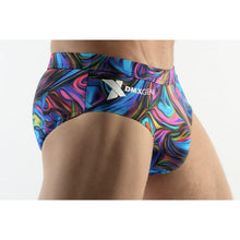 Load image into Gallery viewer, DMXGEAR MEN'S SWIM BRIEF BLUE PAISLEY MULTICOLOR SUN & FUN