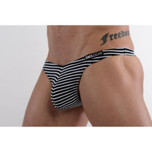 Load image into Gallery viewer, DMXGEAR MEN'S SWIM THONGS WHITE WITH BLACK STRIPES SUN & FUN