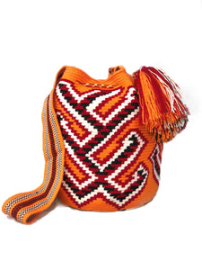 orange and red wayuu mochila handmade handbag