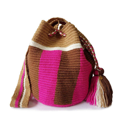 Pink and brown Wayuu Mochila Handmade Bag